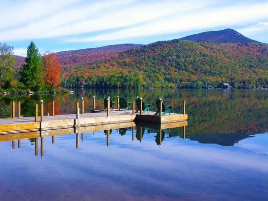 Prospect Point Cottages - Blue Mountain Lake: From Prospect Point dock, you'll see Blue Mountain rising from the crystal waters.