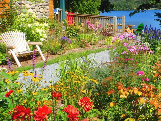 Prospect Point Cottages - Blue Mountain Lake: One of the many gardens that crown Prospect Point in seasonal glory.