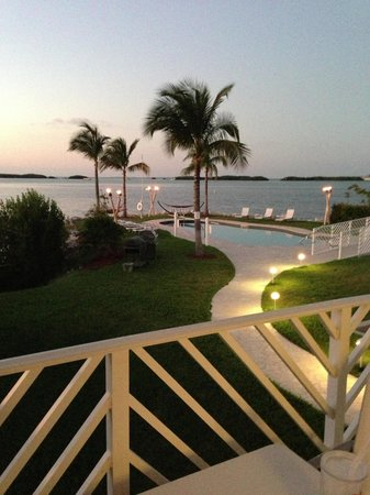 Islander Bayside Townhomes:                   View from Balcony at Bay, Pool, Hammock, Tiki Torches