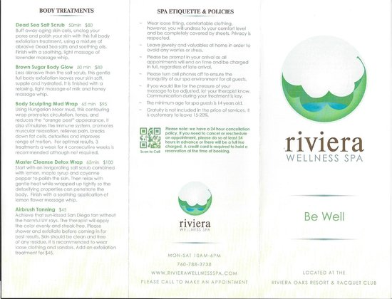 Riviera Wellness Spa: Outside of Brochure