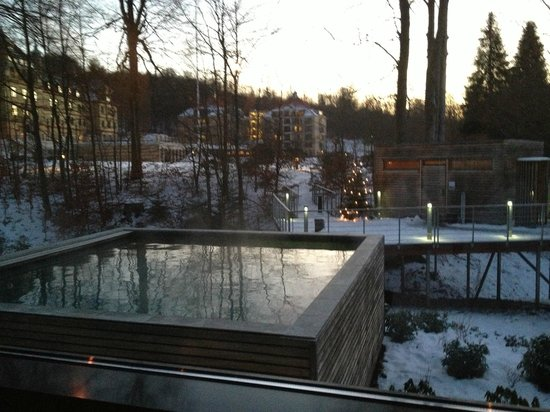 Hotel Vejlefjord:                   Outdoor hot tub and sanitorium building in background