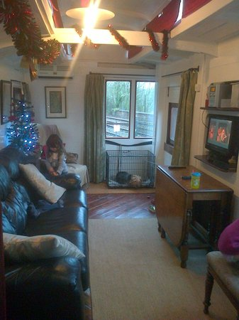 Railholiday - The Old Luggage Van and The Travelling Post Office:                                     living/dining area (pull out sofa - very comfortable)