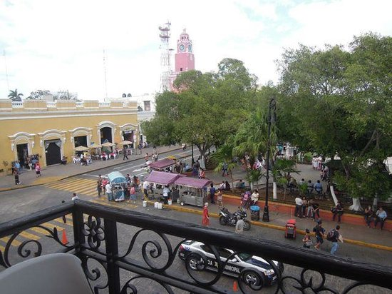 "Hostal Zócalo:                   View of the main square (""zocalo"") from balcony of private room #22"