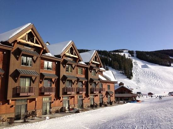 Big Sky Resort Village Center: view of the hotel from mountain behind our room!