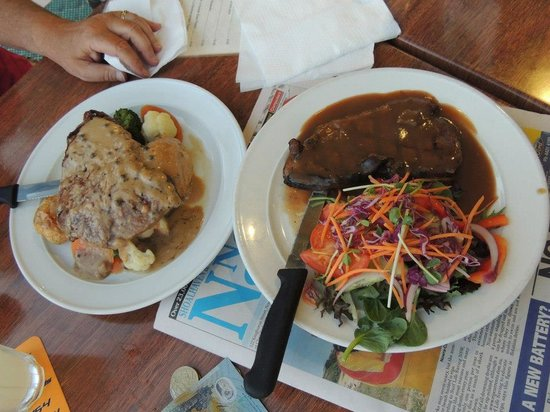ShoalHaven Heads Bowling and Recreation Centre's Bistro:                   Steaks with salad and vegetables