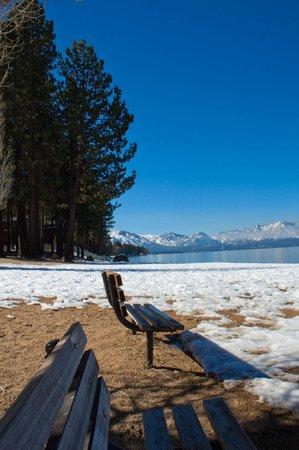 Howard Johnson South Lake Tahoe: view from lake near HOJO