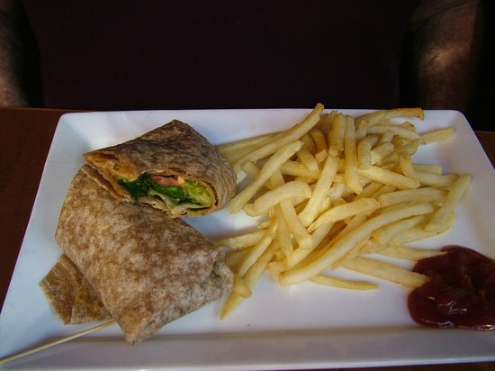 Tryst Cafe: Wheat chicken wrap and fries