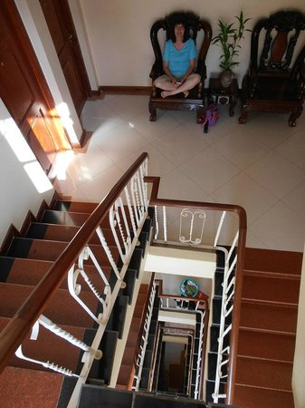 Neth Socheata Hotel:                   Stairwell and landing by our room