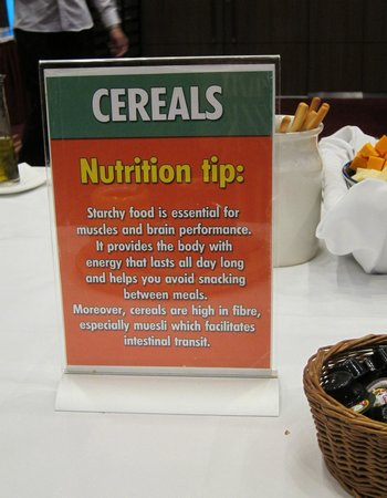 Ibis London Earls Court: health tip at breakfast