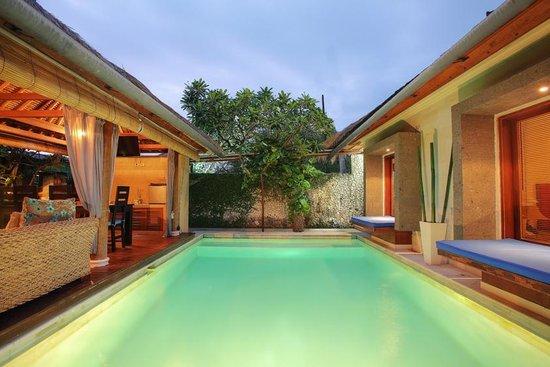 Villa Aroha Seminyak:                                                                         Living area on left, bed
