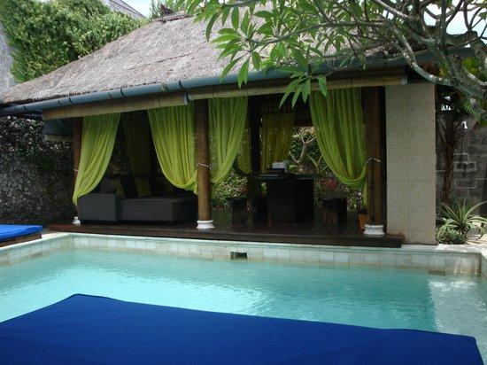 Villa Aroha Seminyak:                   Looking from bedroom across pool to living pavillion