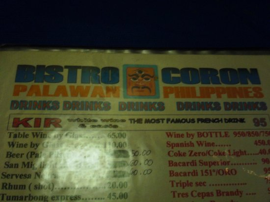 Bistro Coron :                   Plastic Menu w/ 10% service price above the listed price.