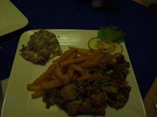 Bistro Coron :                   This is one full meal +1/2 of another, Not much food.  Dried chicken curry rig
