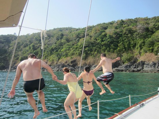 SweetDreamers Charters - Private Day Trips:                   One, Two, Three JUMP!!  Coral Island Diving Board