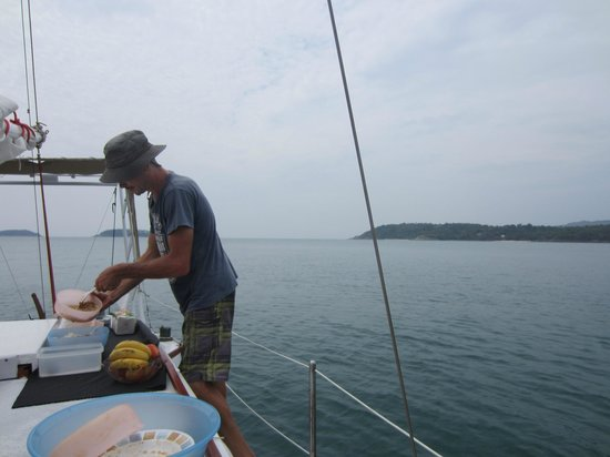 SweetDreamers Charters - Private Day Trips:                   Chef Igor prepares a feast