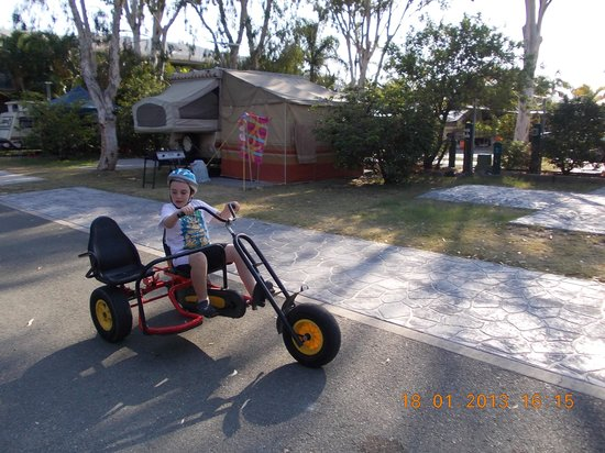 NRMA Treasure Island Holiday Park:                   my son on a go cart that they have to hire