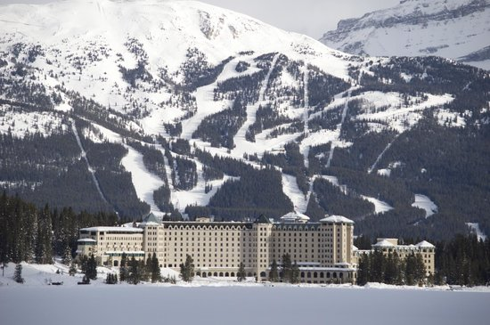 Fairmont Chateau Lake Louise:                                     Hotel and Ski Resort in the distance