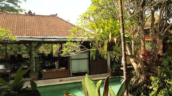 DePradha Guest House :                   Hotelgarten/ Restaurant