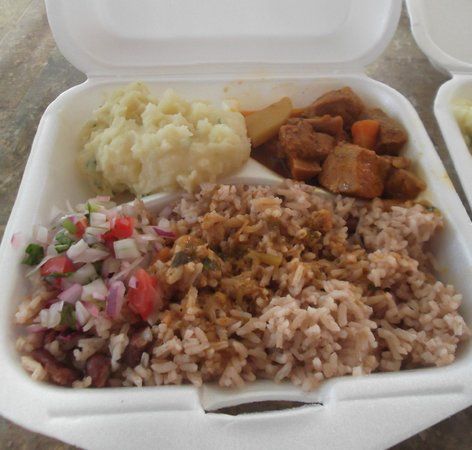 My Secret Deli: Carry out portion of stewed meat and potato with a side of rice and beans