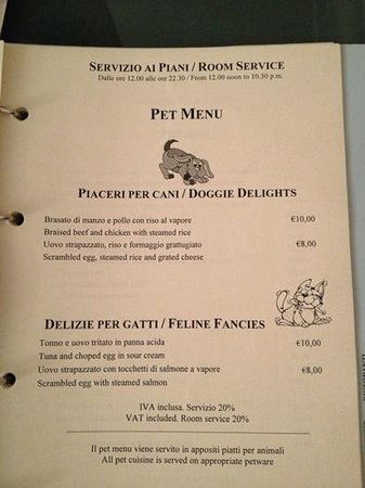 Excelsior Palace Hotel:                   pet menu