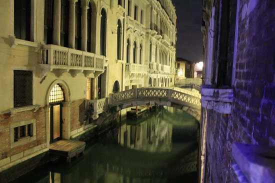 Hotel Dona Palace:                   View from room window looking towards the Bridge of Sighs on the right of the