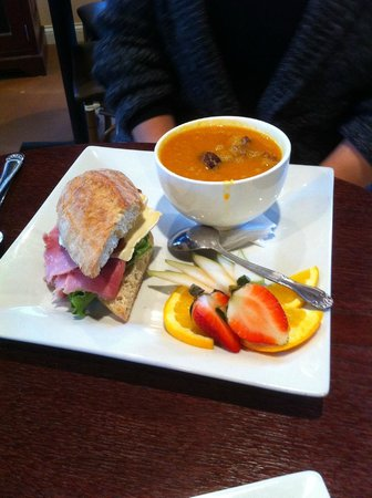 Chez Moi Café & Catering:                   Carrot soup and Ham & Brie sandwich