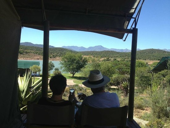 Buffelsdrift Game Lodge:                   Our view from the bush tent