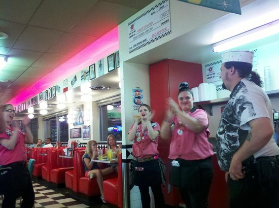 Gunther Toodys Diner:                   On your birthday, they sing to you and make you do the twist.