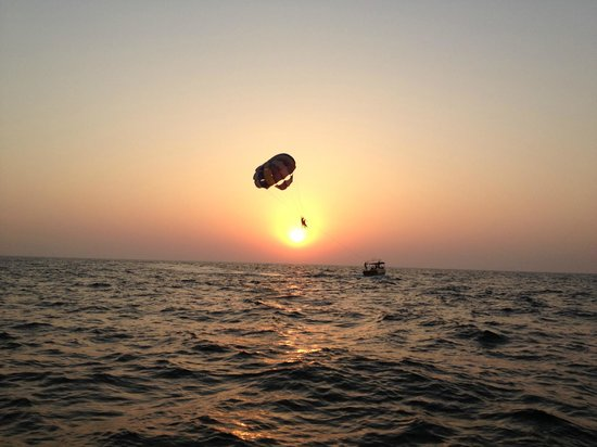 The Village Square:                   parasailing over the arabian sea