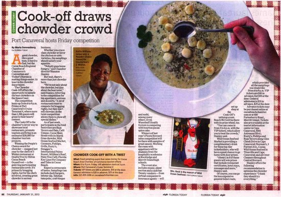 DoubleTree by Hilton Hotel Cocoa Beach Oceanfront: Article on our very own Kelita's Award Winning Chowder!
