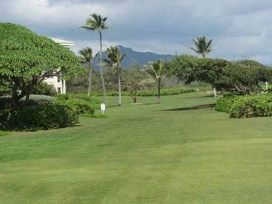 Kauai Beach Resort:                   Greens - great for a barefoot walk:)
