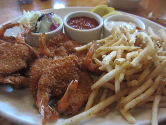 BJ's Restaurant & Brewhouse: Panko Crusted Fried Shrimp With Fries and Coleslaw.