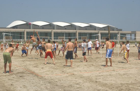 Intense Game of Beach Volleyball on the Wildwoods Beach.