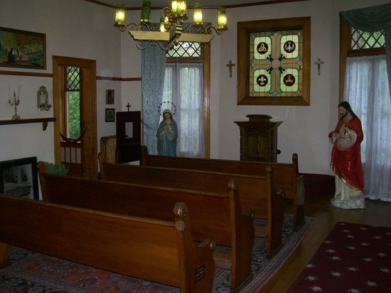 Miramont Castle Museum:                   In the chapel. Can you find the orb on the pew?