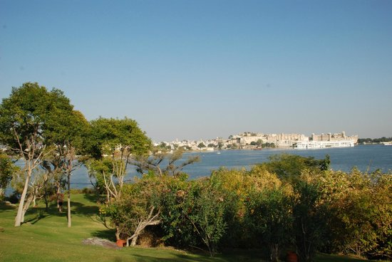 The Oberoi Udaivilas:                                     View from the spa outdoor pool