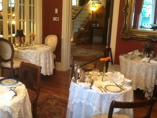 Black Walnut Bed and Breakfast Inn:                   Lovely place settings on each breakfast table.