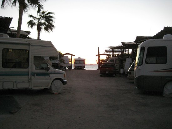 KiKis RV Camping & Hotel:                   View to the beach, just past the rv's, from the hotel