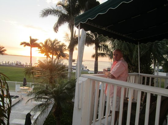 Tarpon Lodge & Restaurant:                   Balcony view at sunset