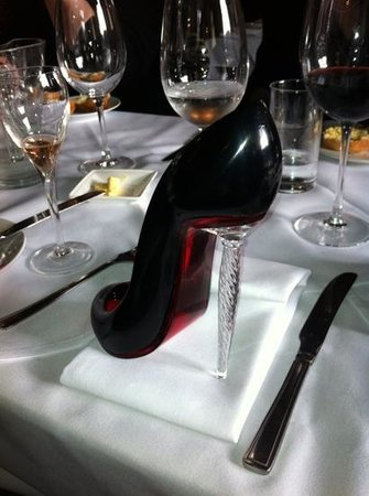 Who'd A Thought It Restaurant:                   Christian Louboutin champagne flute at the Who'd a Thought It
