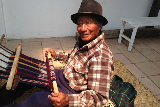 Tahuantinsuyo Weaving Workshop:                                     Master Weaver Miguel Andrango creates art at his backstrap l