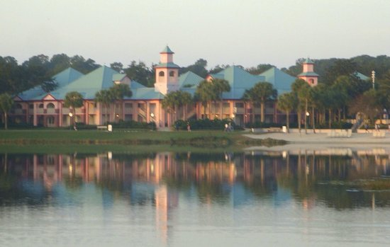 Disney's Caribbean Beach Resort:                   Morning across the lake