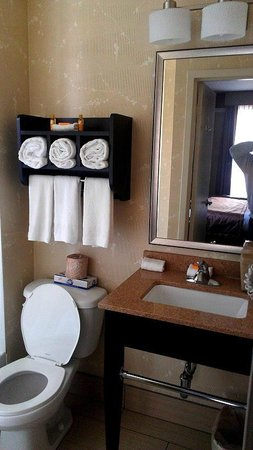 La Quinta Inn Manhattan:                   New vanity and towel racks.