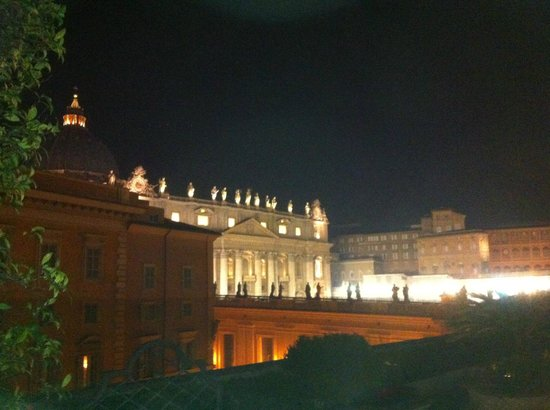 Residenza Paolo VI :                   View from hotel roof terrace of Saint Peter's Basilica