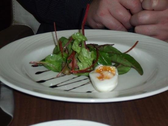 Hotel Indigo Edinburgh: Ham Hock Salad with olives, and a soft boiled egg.