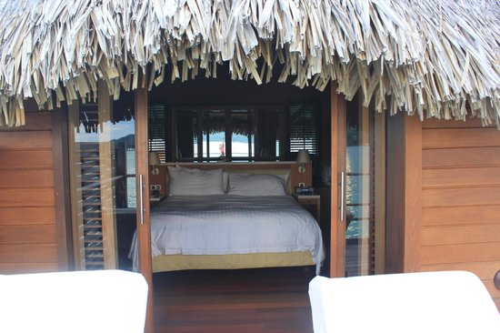 Four Seasons Resort Bora Bora:                   Bedroom from bungalow deck