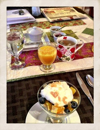 The Stella Rose B&B:                   Fruit parfait topped with candied ginger to start