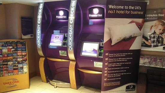 Premier Inn London Leicester Square Hotel:                   Machines for self check-in.