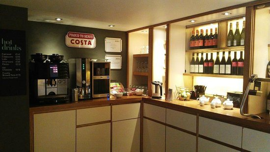 Premier Inn London Leicester Square Hotel:                   Coffee/Tea bar. Costa coffee maker. Very good coffee!