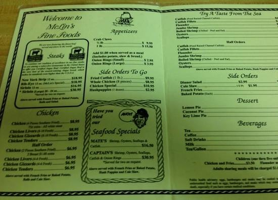 Daleville, AL: menu