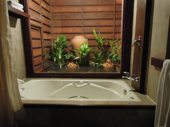 Green Park Boutique Hotel:                   bathtub with garden